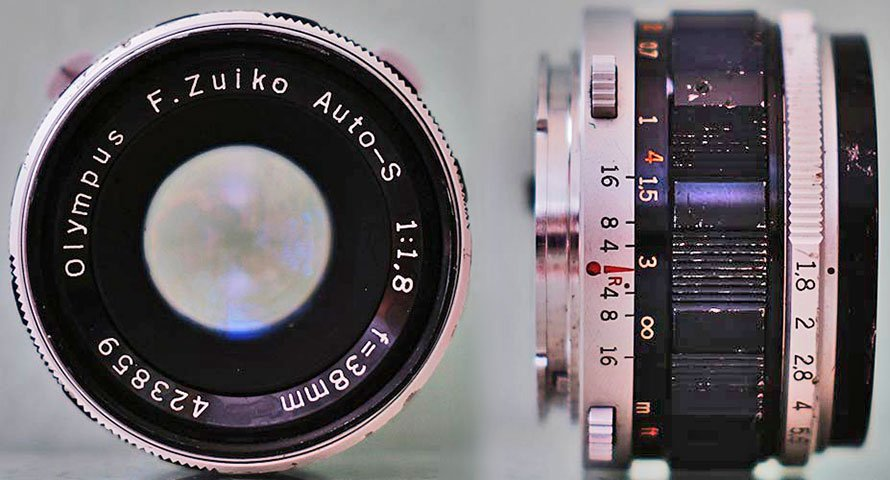olympus f zuiko 38mm f1.8 pen f camera lens