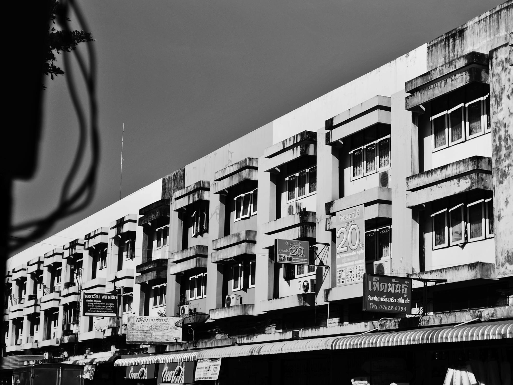 black and white buildings in phuket town