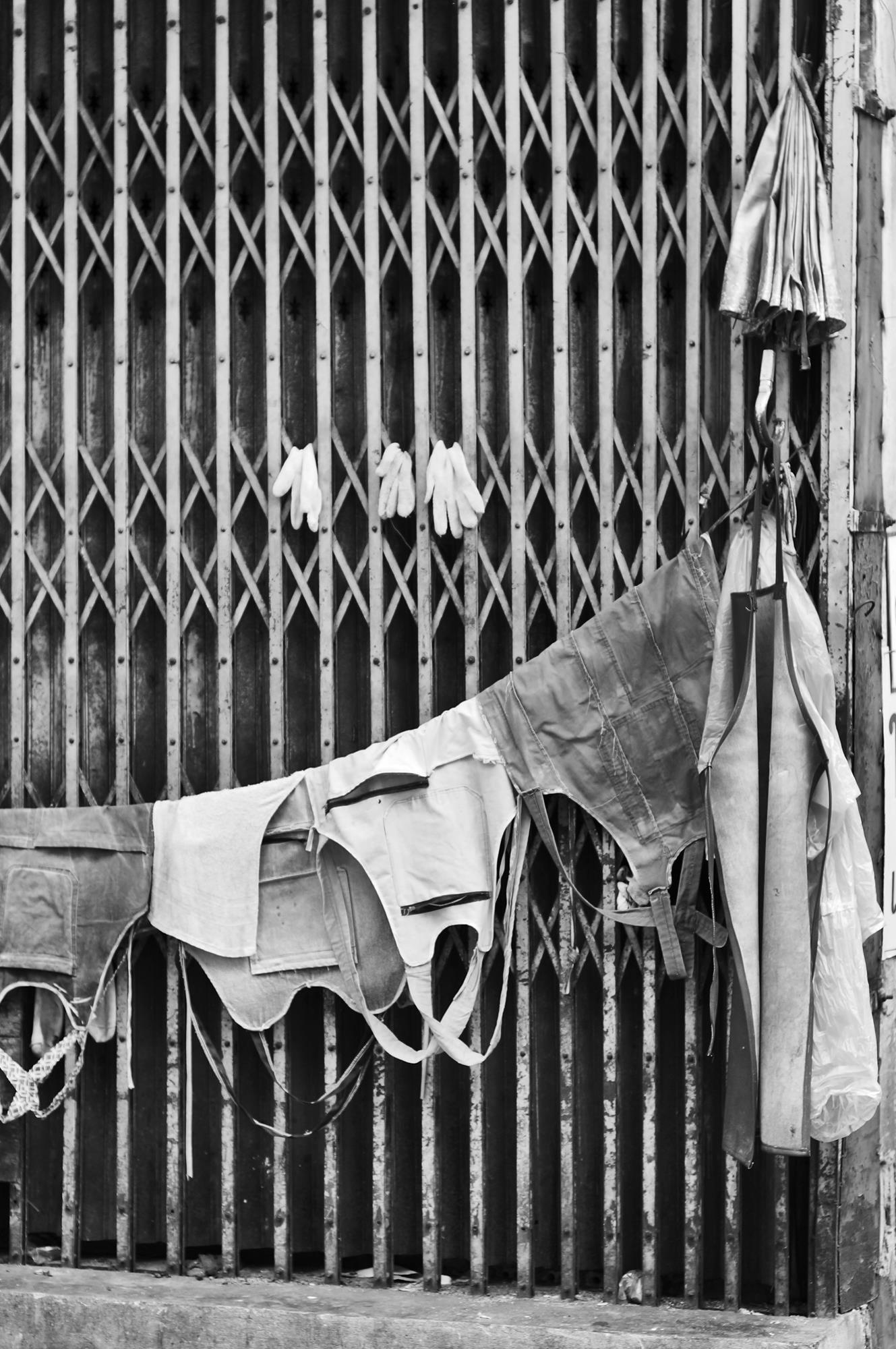 monochrome shot of work clothes drying