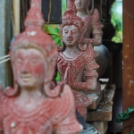 red buddhist statues in chiang mai thailand