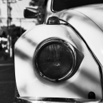 monochrome vw beetle headlight