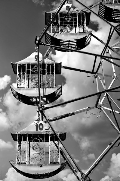 vintage ferris wheel in monochrome