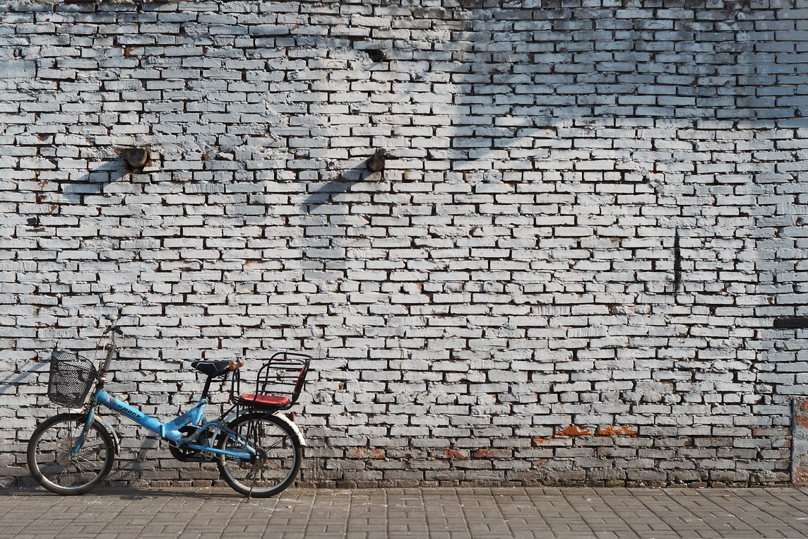 bicycle against wall in shanghai china