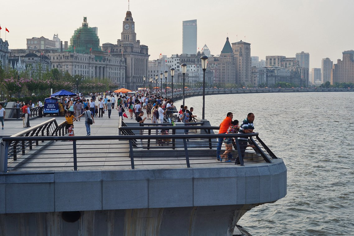 the bund waterfront in shanghai china