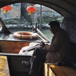 local chinese boatman in xitang