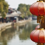chinese lanterns in xitang water town