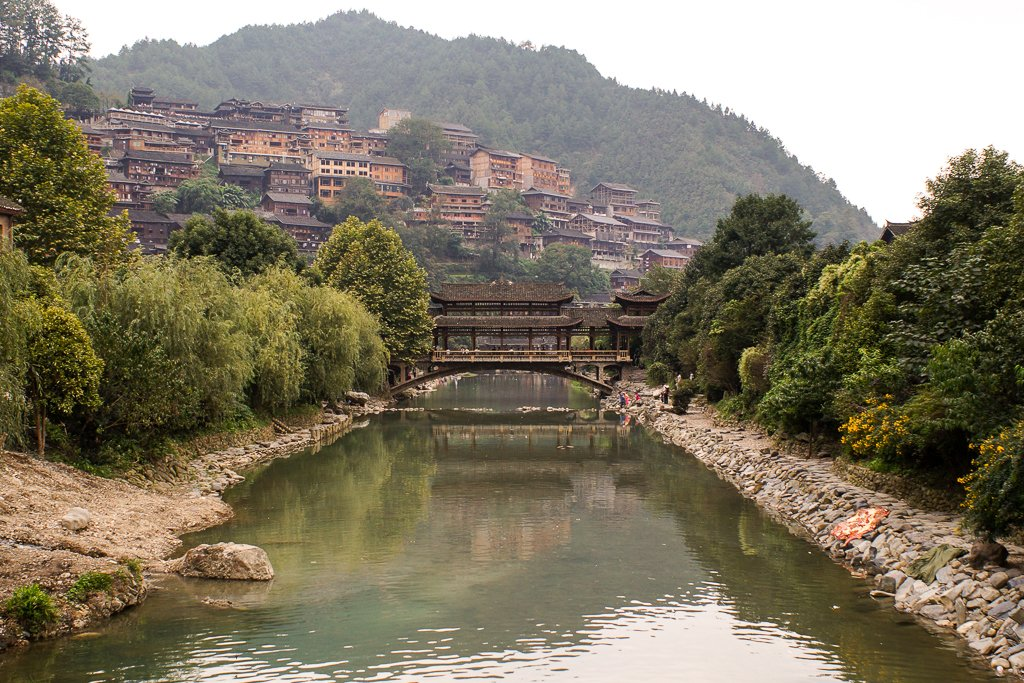 china miao xijiang village bridge