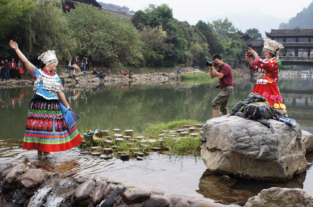 china rural river costume