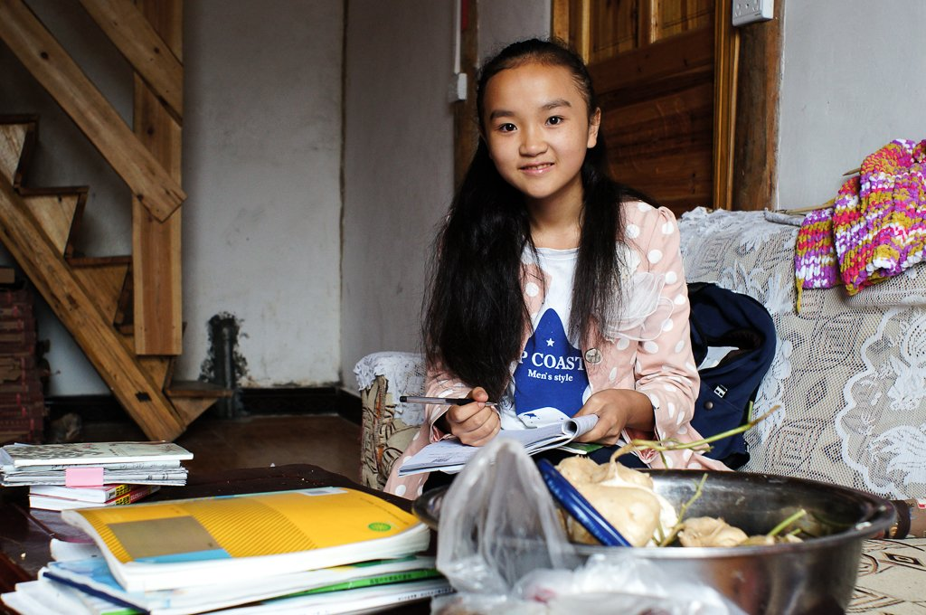 chinese rural girl english homework