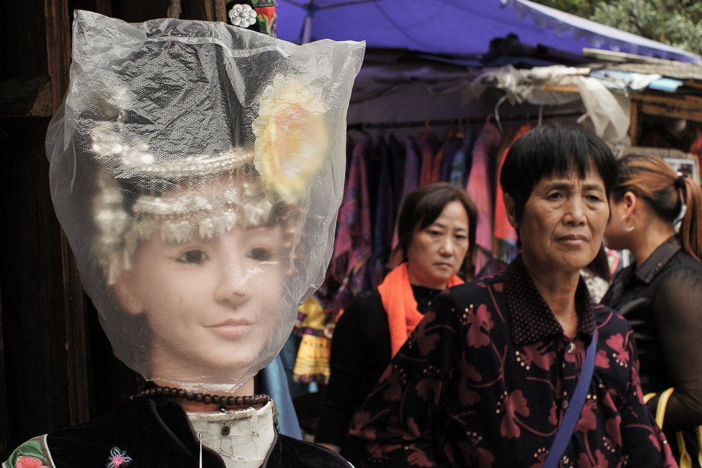 miao minority costume mannequin head