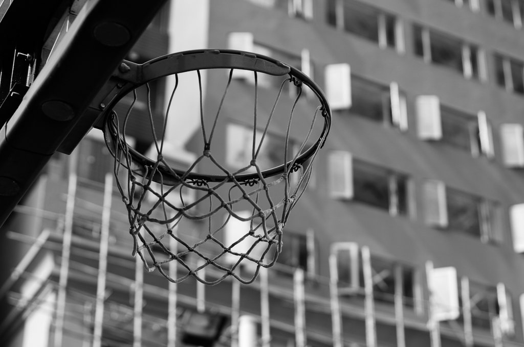 monochrome basketball ring