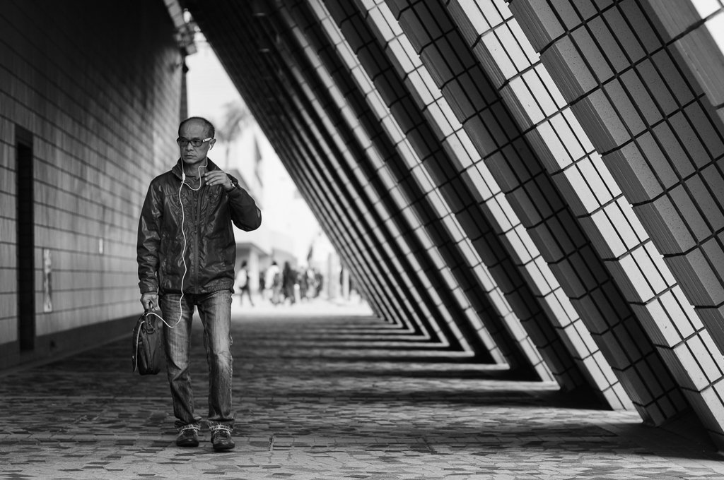 monochrome street photography lines