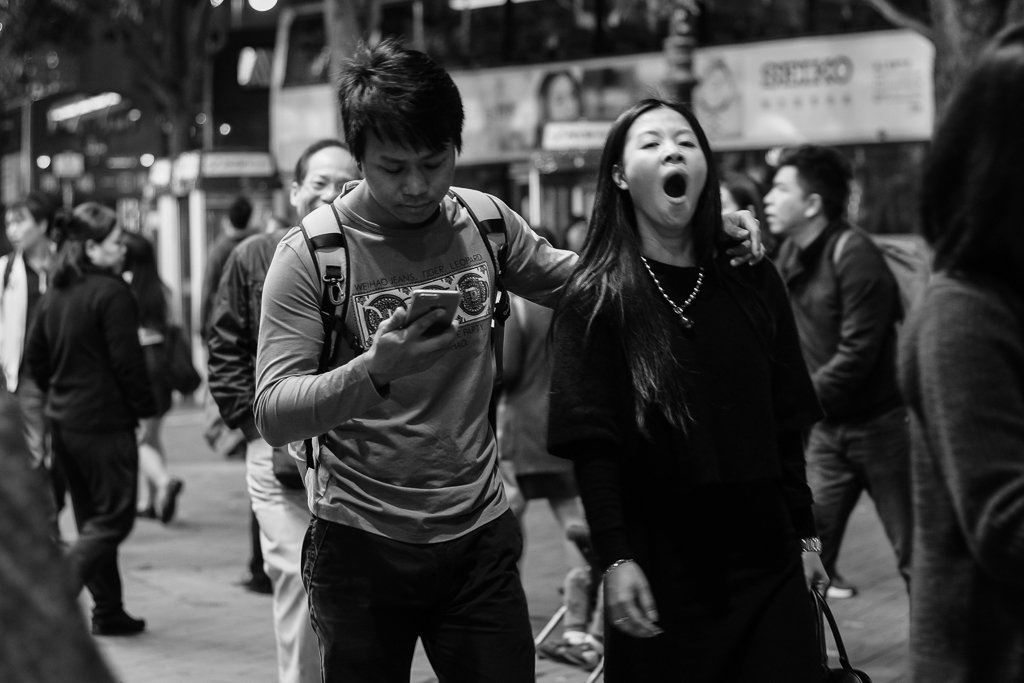 monochrome street photography yawn