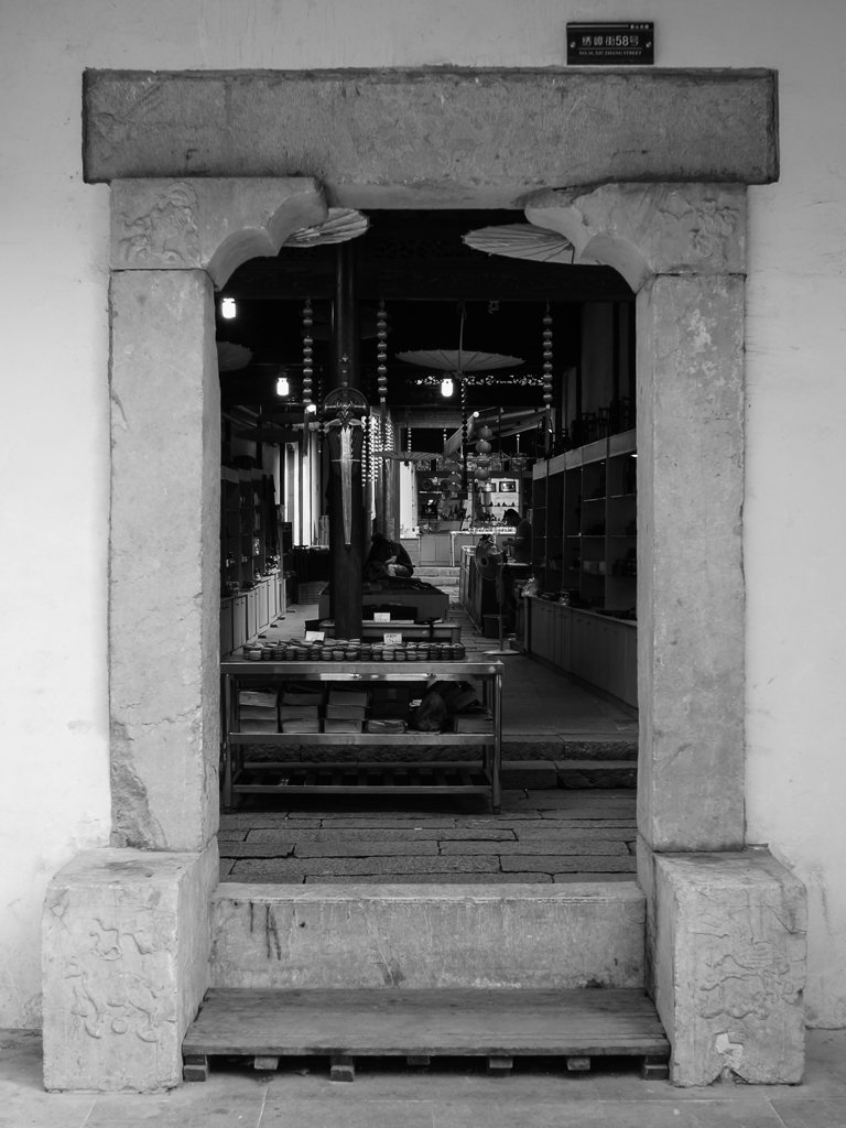 monochrome doorway street photography