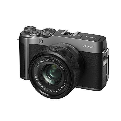 Fujifilm X-A7 Mirrorless Digital Camera w/XC15-45mm F3.5-5.6 OIS PZ Lens, Dark Silver
