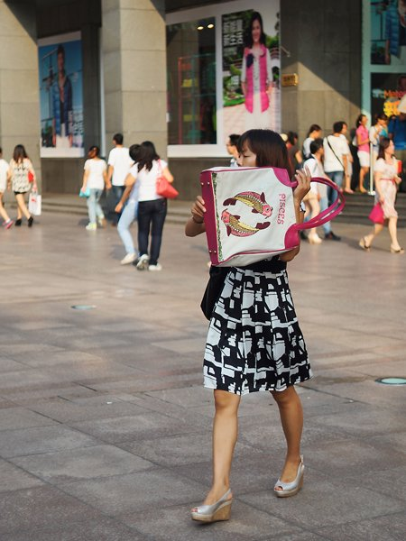 female shopper on east nanjing road shanghai china