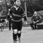 boy rollerskating in shanghai