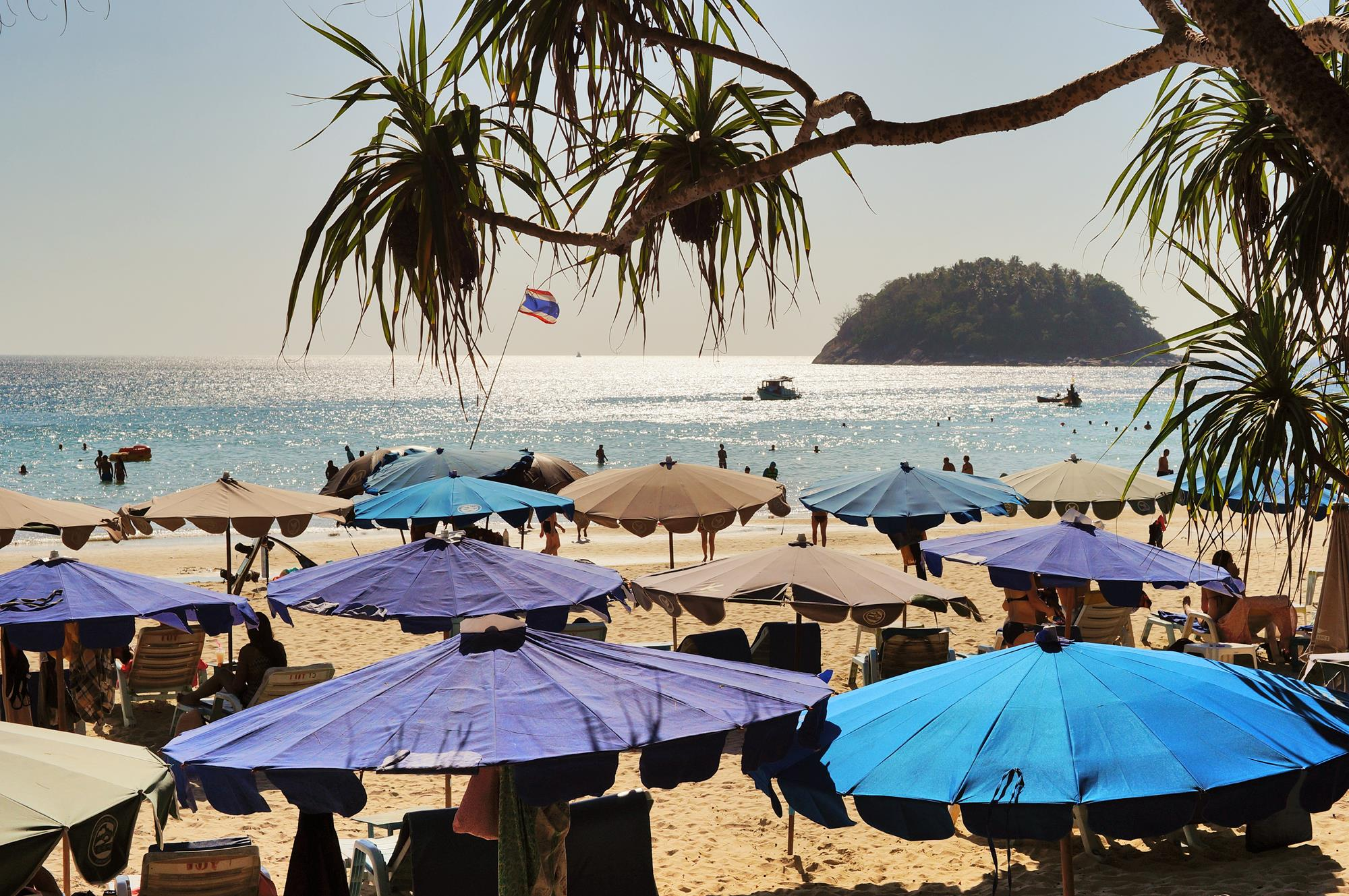 umbrellas on kata beach phuket thailand