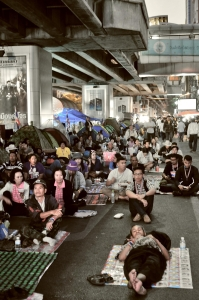 protesters sitting in bangkok