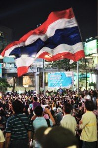 large thai flag at bangkok protest