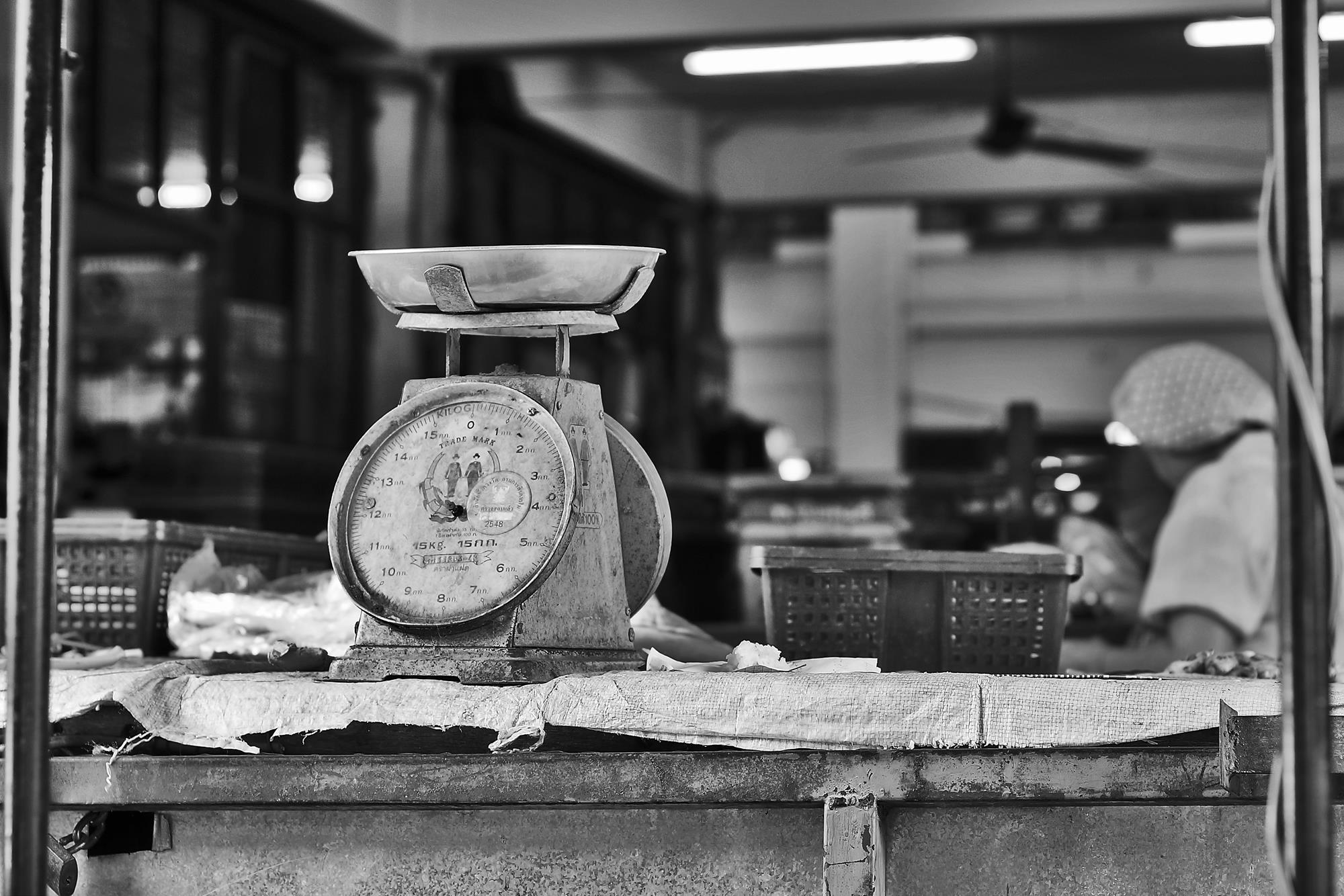monochrome market scales in chiang mai
