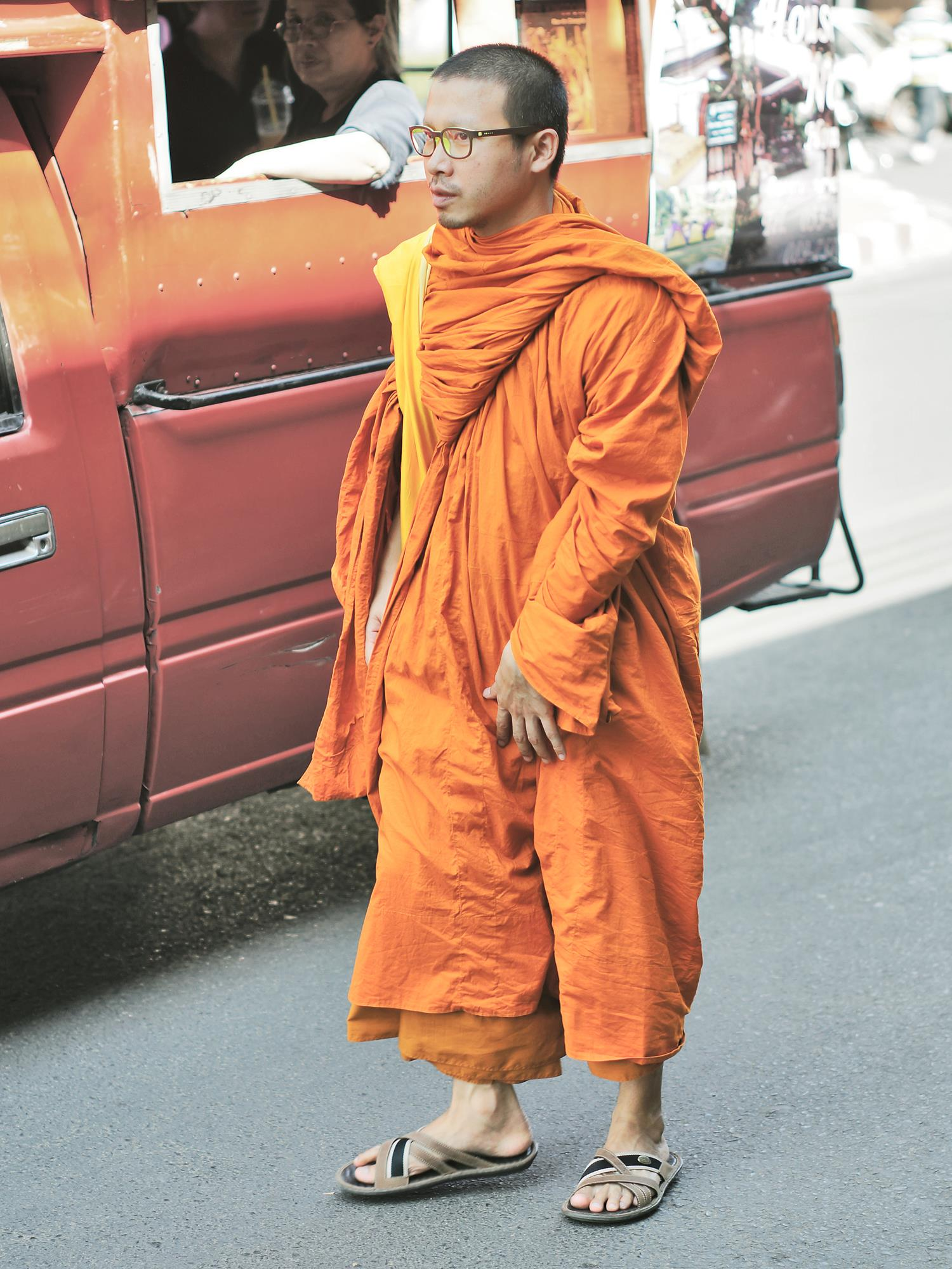 monk and songthaew chiang mai thailand