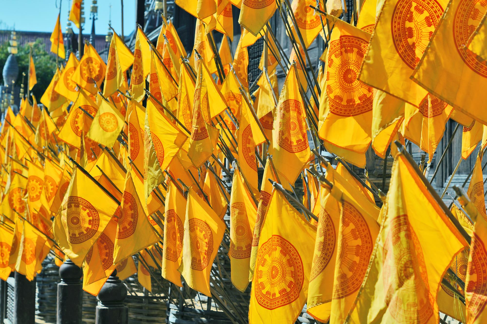 yellow thai buddhist flags