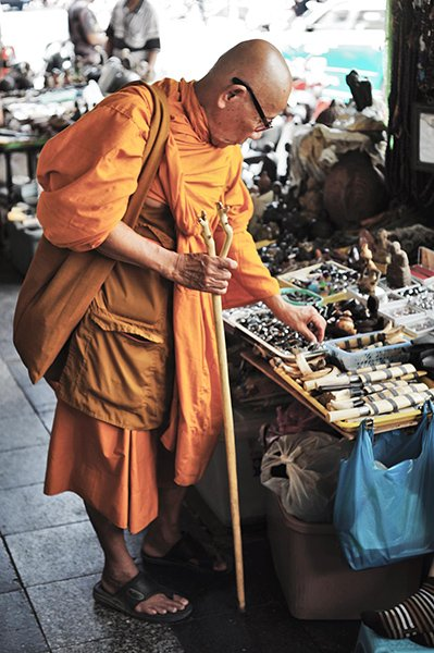 bangkok street photography monk