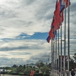 flags at vientiane riverside laos