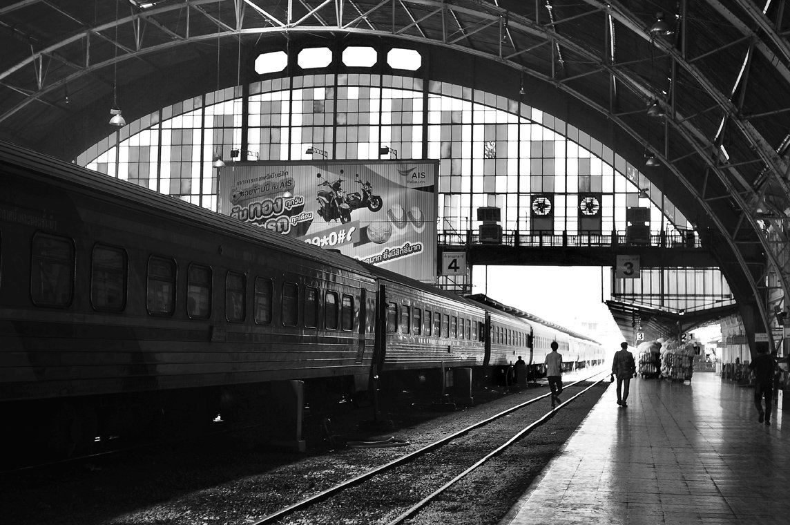 monochrome bangkok train station