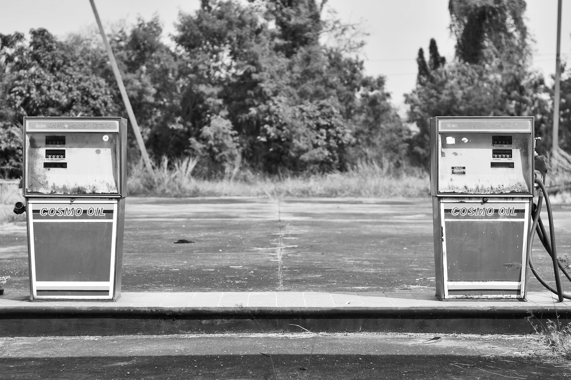 abandoned petrol pumps