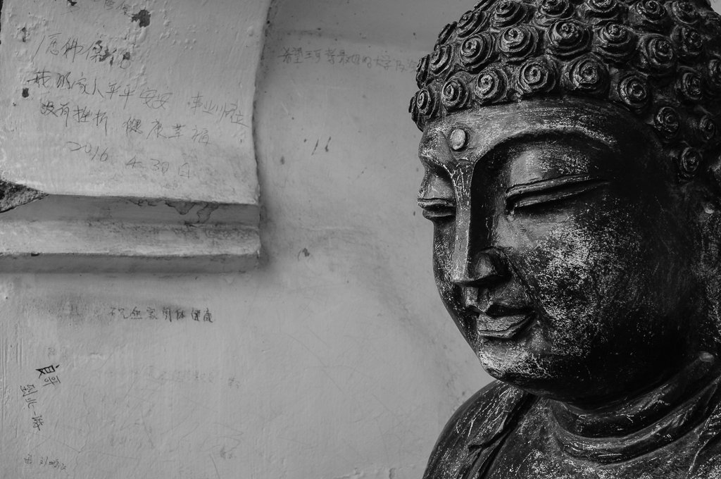 monochrome buddha chinese graffiti