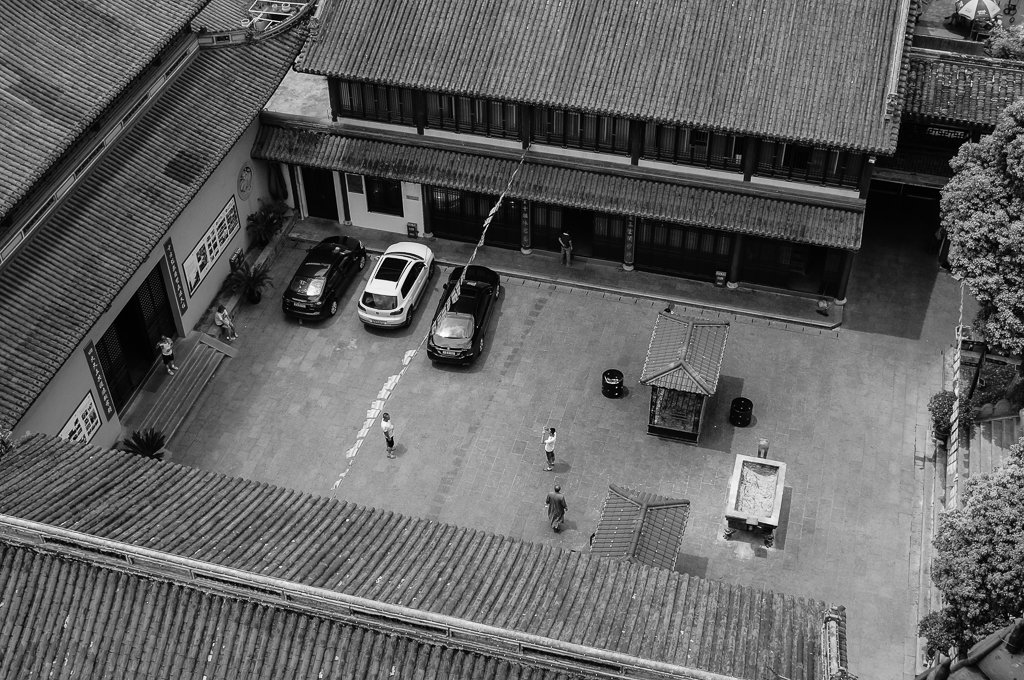 monochrome temple yard