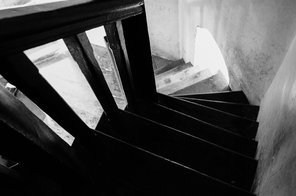 monochrome wooden stairs