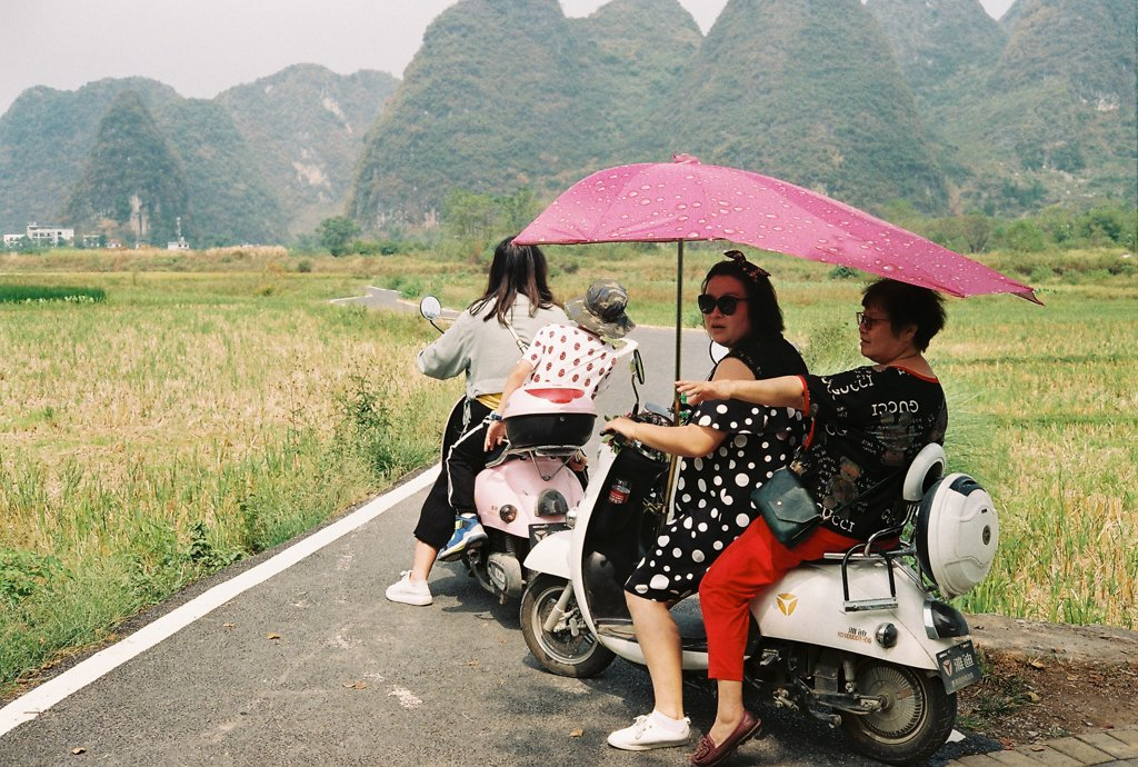 scooter in yangshuo countryside