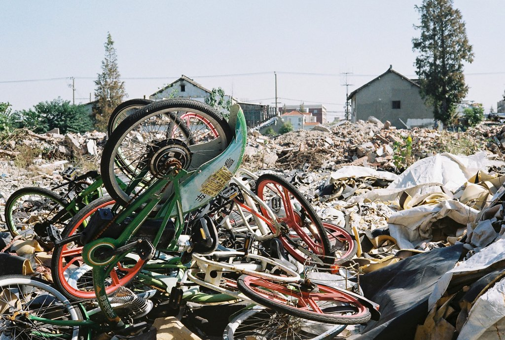 abandoned bicycles